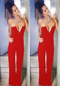 Red Plain Pockets Zipper Bandeau Fashion Long Jumpsuit