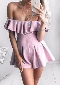 Pink Zipper Ruffle Sewing Mid-rise Fashion Short Jumpsuit