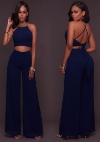Navy Blue Tie Back Cross Back Two Piece Wide Leg Long Jumpsuit