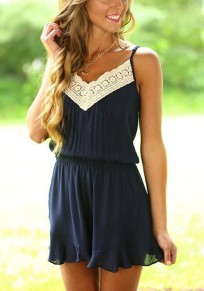 Dark Blue Patchwork Hollow-out Lace Condole Belt Ruffle Short Jumpsuit
