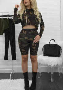 Army Green Camouflage Print 2-in-1 Hooded Short Jumpsuit