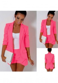 Rose Carmine Turndown Collar 3/4 Sleeve OL Style Blazer And Shorts