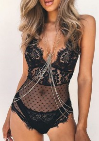 Black Lace Hollow-out Grenadine Halter Neck Short Jumpsuit