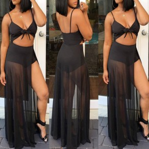 Black Patchwork Grenadine Spaghetti Strap Backless Short Jumpsuit With Maxi Overlay