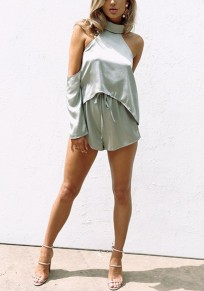 Grey Cut Out Drawstring High Waisted Fashion Short Jumpsuit