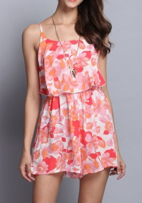 Pink Floral Spaghetti Strap Open Back High Waisted Short Jumpsuit