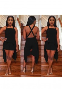 Black Backless Irregular Cross Back Sewing Mid-rise Short Jumpsuit