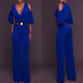 Blue Cut Out Off Shoulder Cleavage Half Sleeve High Waisted Long Jumpsuit