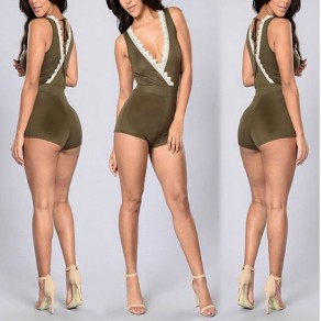 Army Green Patchwork Lace Tie Back Cleavage Backless High Waisted Short Jumpsuit