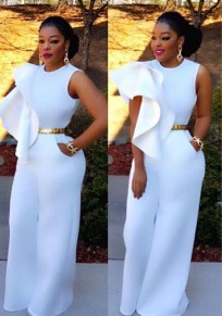 White Irregular Ruffle Zipper Pockets High Waisted Wide Leg Long Jumpsuit