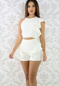 White Ruffle Irregular Backless Sleeveless High Waisted Two Piece Short Jumpsuit