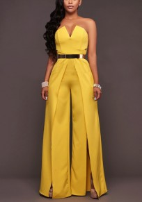 Yellow Pockets Off Shoulder Backless Cut Out Slit Casual Wide Leg Long Jumpsuit