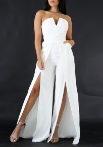 White Pockets Bandeau Zipper Cut Out Thigh High Side Slits Fashion Long Jumpsuit