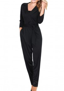 Black Sashes Pockets Turndown Collar High Waisted Fashion Long Jumpsuit