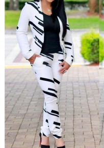White Striped Pockets 2-in-1 Sewing Mid-rise Fashion Long Jumpsuit