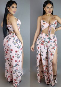 Pink Floral Print Spaghetti Strap Cleavage Side Slit Two Piece Long Jumpsuit
