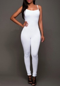 White Spaghetti Strap Square Neck Backless One Piece Long Jumpsuit
