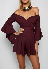 Burgundy Ruffle Off Shoulder Flare Sleeve High Waisted Short Jumpsuit