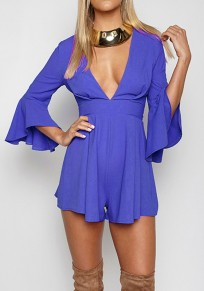 Blue Ruffle Tie Back Flare Sleeve High Waisted Short Jumpsuit