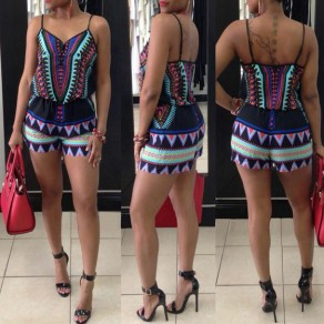 Multicolor Geometric Print Spaghetti Strap V-neck Backless High Waisted Vintage Short Jumpsuit