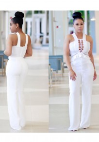 White Lace-up Hollow-out Pockets Peplum High Waisted Wide Leg Long Jumpsuit