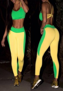 Yellow-Green Patchwork Spaghetti Strap Cross Back Two Piece Sports Long Jumpsuit