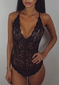 Black Patchwork Lace Spaghetti Strap Cross Back Short Jumpsuit