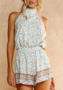 Green Floral Tie Back Backless Sewing High Waisted Short Jumpsuit