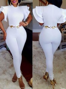 White Ruffle Zipper High Waisted Flutter Sleeve One Piece Elegant Long Jumpsuit