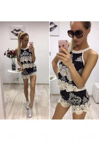 Black Patchwork Hollow-out Lace 2-in-1 Wavy Edge Fashion Short Jumpsuit