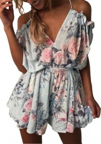 Blue Floral Condole Belt Tie Back Cut Out Short Jumpsuit