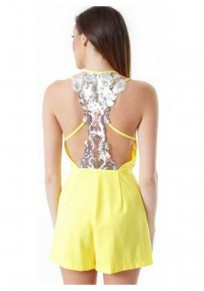 Yellow Patchwork Sequin Sewing High Waisted Short Jumpsuit