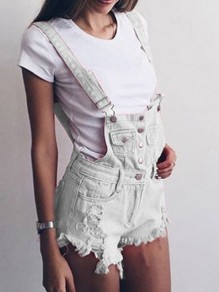 White Patchwork Single Breasted Shoulder-Strap Pockets Tassel Short Jumpsuit
