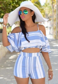 Light Blue Striped Ruffle Off Shoulder Spaghetti Strap Two Piece Short Jumpsuit