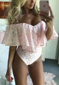 Pink Patchwork Lace Ruffle Hollow-out Sewing Bandeau Mid-rise Short Bodysuit