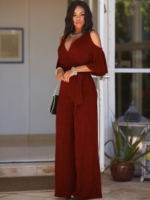 Burgundy Cut Out Sashes Deep V-neck Half Sleeve Wide Leg Long Jumpsuit