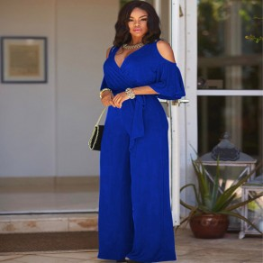 Sapphire Blue Cut Out Sashes V-neck Half Sleeve Wide Leg Long Jumpsuit