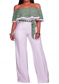 Green-White Striped Pleated Ruffle Sashes Off Shoulder Wide Leg Long Jumpsuit