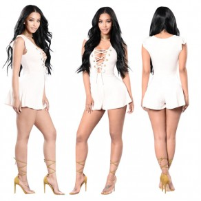 White Ruffle Lace-up Cap Sleeve High Waisted One Piece Short Jumpsuit