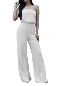 White Tie Back Bandeau Off Shoulder Plus Size Wide Leg Long Jumpsuit