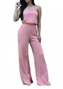 Pink Tie Back Bandeau Off Shoulder Plus Size Wide Leg Long Jumpsuit