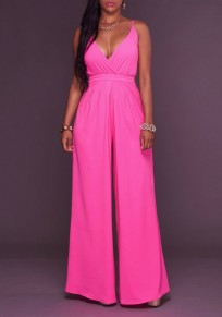 Rose Carmine Zipper V-Neck Spaghetti Strap High Waisted Wide Leg Long Jumpsuit