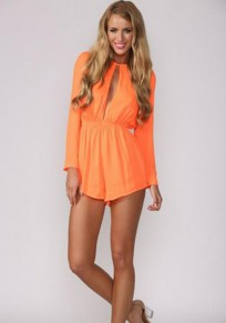 Orange Cut Out Long Sleeve High Waisted Casual Short Jumpsuit