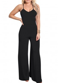 Black Tie Back Spaghetti Strap High Waisted Wide Leg Long Jumpsuit