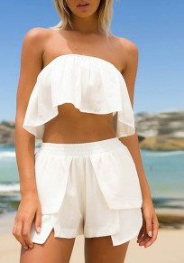 White Two Piece Set Bandeau Irregular Draped Fashion Short Jumpsuit