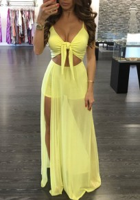 Yellow Lace-up Grenadine Cut Out Spaghetti Strap Short Jumpsuit With Maxi Overlay