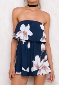 Blue Floral Bandeau Ruffle Sewing Mid-rise Short Jumpsuit