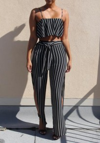 Black-White Striped Print Two Piece Sashes Bandeau Off Shoulder Backless Casual Long Jumpsuit