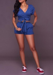 Navy Blue Pockets Lace-up Drawstring Waist Deep V-neck Two Piece Short Jumpsuit