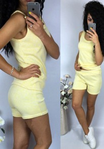 Yellow Round Neck Sleeveless Two Piece Sports Short Jumpsuit